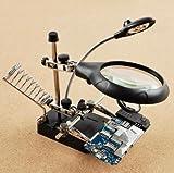 精密 作業 用 スタンド ルーペ 固定 クリップ & はんだ ごて スタンド & 電池 & クリーニング クロス 付き (5LED ライト 分離型 拡大 鏡 2種類 付き)