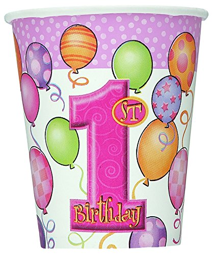 First Birthday Pink 9oz. Cups 8ct.