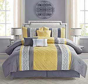 Modern 7 Piece Bedding Yellow / Grey / White Emboidered and Pin Tuck QUEEN Comforter Set with accent pillows
