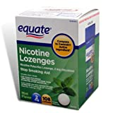 Equate Nicotine Lozenge Stop Smoking Aid, Mint Flavor 2 mg, 108 Lozenges