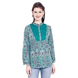 TUNTUK Women's Karishma Tunic Green Cotton Top