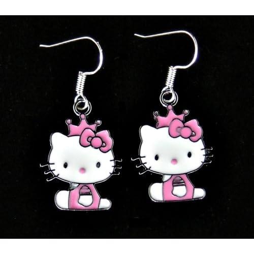 Cute pink & white sitting kitty enamel charm earrings w/ .925 SS hooks