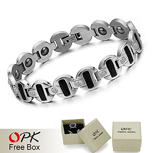 Glucky : Fashion Gifts Magnet Bracelet Stone Inlay Health Balance Stainless Steel Men'S Bracelet Men'S Jewelry