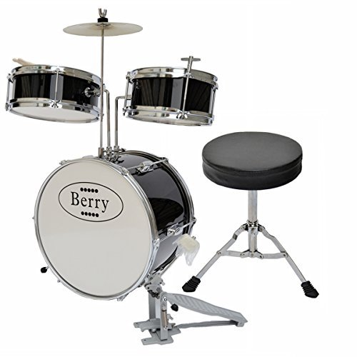 berry-toys-complete-kids-medium-drum-set-with-cymbal-stool-and-sticks-black-by-berry-toys