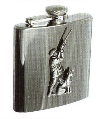 Hip Flask 6oz with Hunting badge