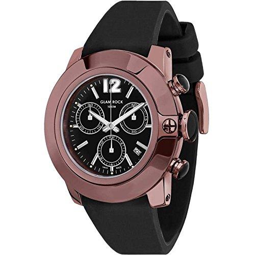 Glam Rock - GR32146A - Sobe - 22mm  Montre Homme - Quartz Chronographe - Cadran Noir - Bracelet Silicone Noir