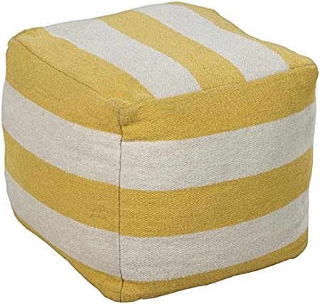 Surya POUF162-181818 100-Percent Wool Pouf, 18-Inch by 18-Inch by 18-Inch, Lemon/Ivory