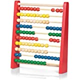 Traditional Wooden Abacus - Classic bead sliding counting frame with ten rows of colourful beads.
