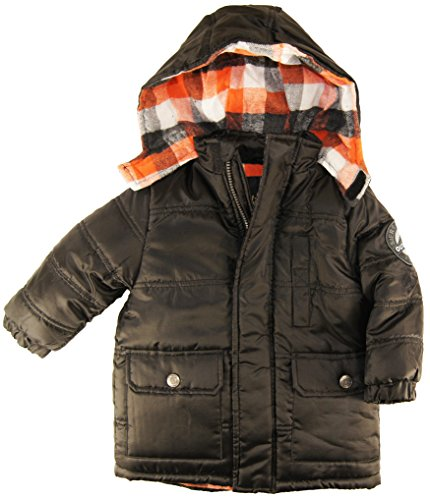Ixtreme Little Boys 2-4T Solid Puffer Hooded Winter Jacket, Black, 4T front-932715