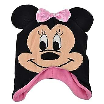 Disney Minnie Mouse Satin Bow Ear Flap Beanie Knit Big