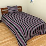 MGM KHADI 35 TC Khadi Cotton Single Bedsheet with 1 Pillow Cover - Stripe, Grey