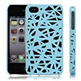 For iPhone 4 4S Blue Bird's Nest Design Interwove Line Hollow Hard Protector Case