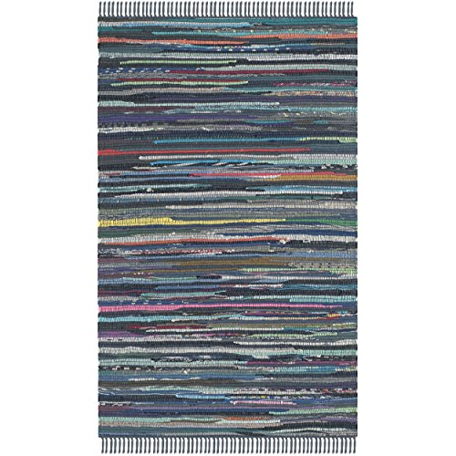 Safavieh Rag Rug Collection RAR121C Hand Woven Ink and Multi Cotton Area Rug, 2 feet 6 inches by 4 feet (2'6