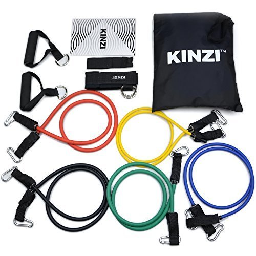 Kinzi Resistance Band Set with Door Anchor, Ankle Strap, Exercise Chart & Resistance Band Carrying Case (Band Workout Chart compare prices)
