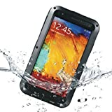 DAYJOY Aluminum Alloy Protective Metal Bumper Shell Case Cover Dirtproof Waterproof Shockproof with GORILLA GLASS for SAMSUNG Galaxy NOTE3 N9000 N9002 N9005 N9009 LOVEMEI BRAND (black color with red port covers)