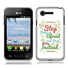 Fincibo (TM) LG Optimus Zone 2 Fuel VS415PP L34C TPU Silicone Protector Case Cover Soft Gel Skin - Stop Being Afraid