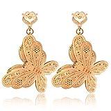 Ecloud Shop® 14K Moda chapado en oro rosa de la mariposa hueco pendientes pendientes de Prom