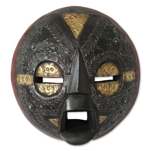 NOVICA Decorative Ghanaian Wood Mask, Black 'Beautiful Soul'