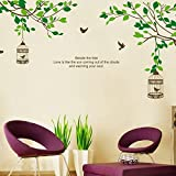 Asmi collection PVC Wall Stickers Wall Decals Tree Branches Birds Cage