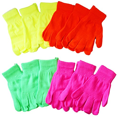OPT®. 12 Pairs Assorted Neon Color Knit Magic Gloves Wholesale Lot. USA Trademark Registered: 86522969. Free Shipping From New York.