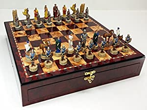 Trojan War Battle of Troy Spartan Greek Mythology Chess Set W/ High Gloss Cherry & Burlwood Color Storage Board 17""