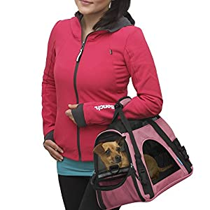 Small Pet Carriers Pink Airline Approved Soft Sided Cat Dog Comfort Bag Travel Approved with Fleece Bed
