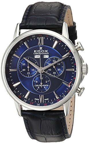 Edox-Mens-Les-Bemonts-Swiss-Quartz-Stainless-Steel-and-Leather-Dress-Watch-ColorBlack-Model-10501-3-BUIN
