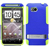 MINITURTLE, 2 in 1 Dual Layer Mesh Hybrid Hard Phone Case Cover for Android Smartphone HTC Droid Thunderbolt 4G 6400 /Verizon (Blue / Green)