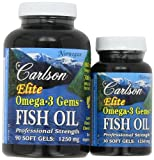 Carlson Labs Elite Omega-3 Gems Fish Oil 1250mg, lemon flavored chewable, 120 Softgels