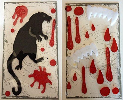 Creepy Vampire Teeth and Bloody Rat Gel Self Stick Window Halloween Bundle - 1