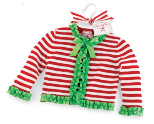 Mud Pie Striped Cardigan With Grosgrain Ruffle (0-6 Months) front-543335