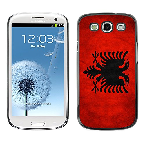 Omega Case Strong & Slim Polycarbonate Cover - Samsung Galaxy S3 Iii I9300 ( Albania Grunge Flag )