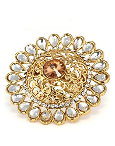 Bindhani Traditional & Ethnic Gold Plated Kundan Finger Ring For Women (Adjustable, Golden)  available at amazon for Rs.210