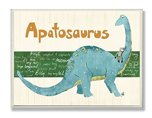 The Kids Room by Stupell Apatosaurus Dinosaur Rectangle Wall Plaque
