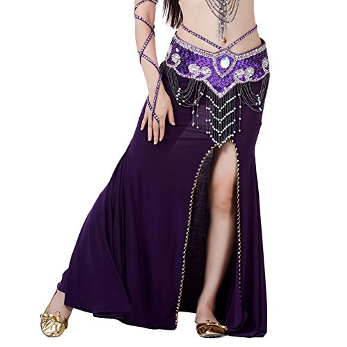 AveryDance Belly Dance High Slit Side Skirt Costume