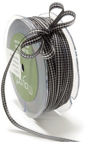 May Arts 1/4-Inch Wide Ribbon, Black Check
