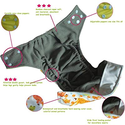 Reusable Pocket Cloth Diapers + 2 Microfiber Inserts | One Size Fits All Newborn Baby to Toddler | Natural Bamboo Charcoal Anti-bacterial and Eco Friendly | Advanced Double Leak Guard Technology 7x's More Absorbent | Easy to Clean | Boy or Girl Adjustable