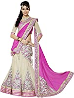 Clickedia Women's Georgette Lehenga Choli(3360_Pink_Free Size)