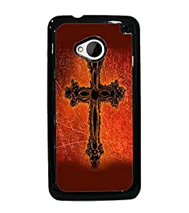 PrintDhaba Cross D-2383 Back Case Cover for HTC ONE M7 (Multi-Coloured)
