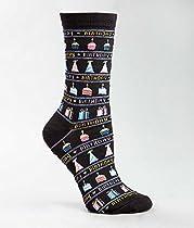 Hot Sox Originals Happy Birthday Crew Socks, Black, Medium