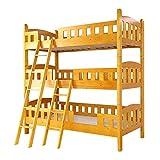平柱3段ベッド【Tamia-タミア-】(ベッド 3段ベッド 木製 平柱)ライトブラウン