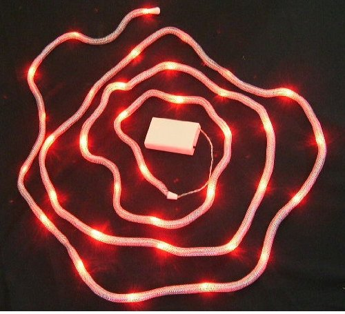 Led Battery Silver Ribbon Snake Tube Lights -35 Red Lights-14 Feet Long