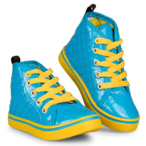 [D9507-BLU-8] Blue High Top Sneakers: PU Lace Up Shoes, Contrasting Sole, Size 8 (That 70s Show Outfits)