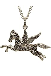 Exclusive Design Fantasy Pegasus Flying Horse Silvertone Pendant in Genuine Marcasite with 16 Inch Chain With Extender