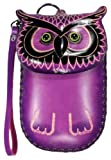 LittleKapsWorld Genuine Leather Wise Owl Coin ID Cell Phone Purse Wristlet – Purple by NYC Leather Factory Outlet
