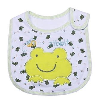 EOZY Lot de 2 Bavoirs Brodés Imprimé Bébé fille Garçon Mignon Coton Imperméable Velcro (Blanc frog)