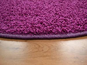 Cargo Circular Plum Shaggy Pile Rug. Available in 5 Sizes by Rugs Supermarket