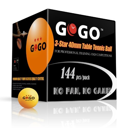 Best Review Of (Price/1 Box)GOGO 3-Star 40mm Table Tennis Balls (144-pack), Ping Pong Balls