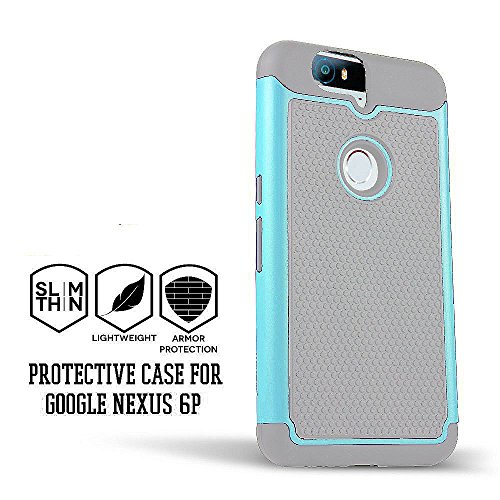 Nexus 6P Case,Google Nexus 6P(2015 Release) Case Cover Accessories- [Shock Absorption] Drop Protection Hybrid Dual Layer Armor Defender Protective-Fit Flexible TPU Case for Nexus 6P.(mint)