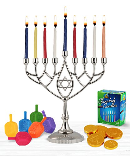 Zion Judaica Hanukkah Value Kit - Full Size Solid Menorah 45 Colored Candles 6 Colored Dreidels Sack of Milk Belgian Hanukkah Coins Gelt - All Essentials in 1 Box